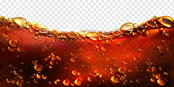 Air bubbles cola, soda drink, beer or water border. Dynamic fizzy carbonated motion on transparent background, aqua texture with randomly moving underwater fizzing droplets, realistic 3d vector frame