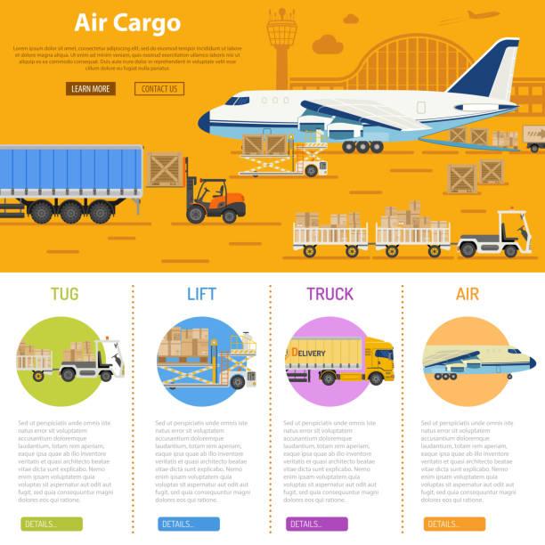 bildbanksillustrationer, clip art samt tecknat material och ikoner med air cargo infographics - traktor pulling