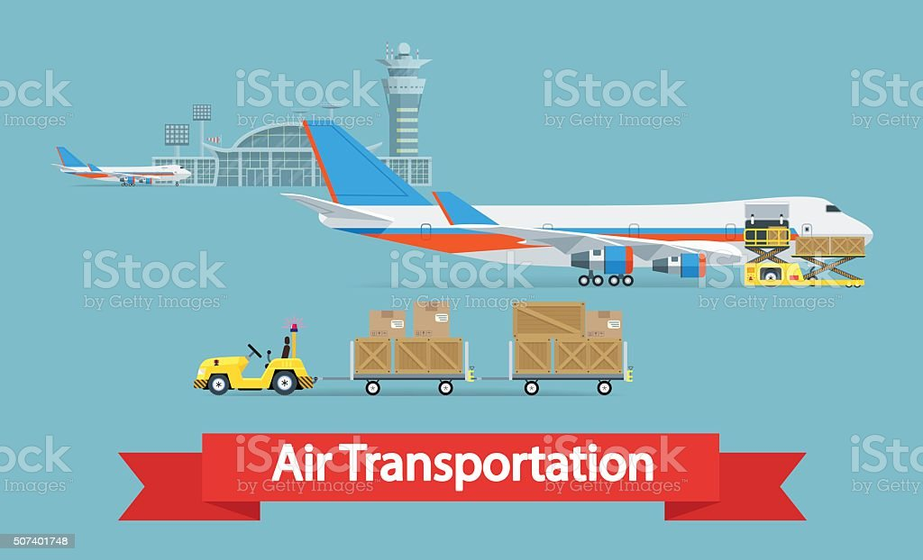 Air cargo transportation vector art illustration