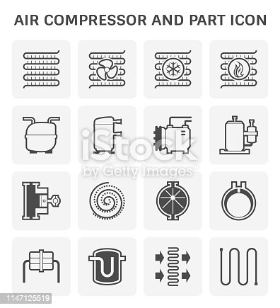 Air compressor and part icon set.