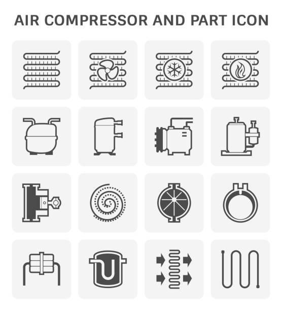 air compressor icon Air compressor and part icon set. compressor stock illustrations