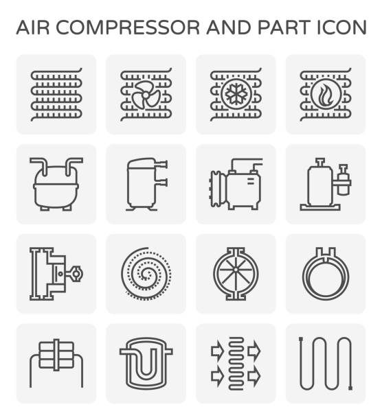 air compressor icon Air compressor and part icon set design, editable stroke. compressor stock illustrations