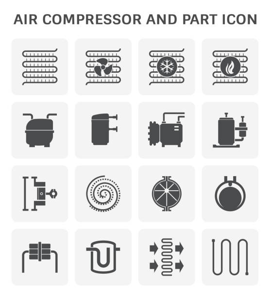 luftkompressor-symbol - kondensation stock-grafiken, -clipart, -cartoons und -symbole