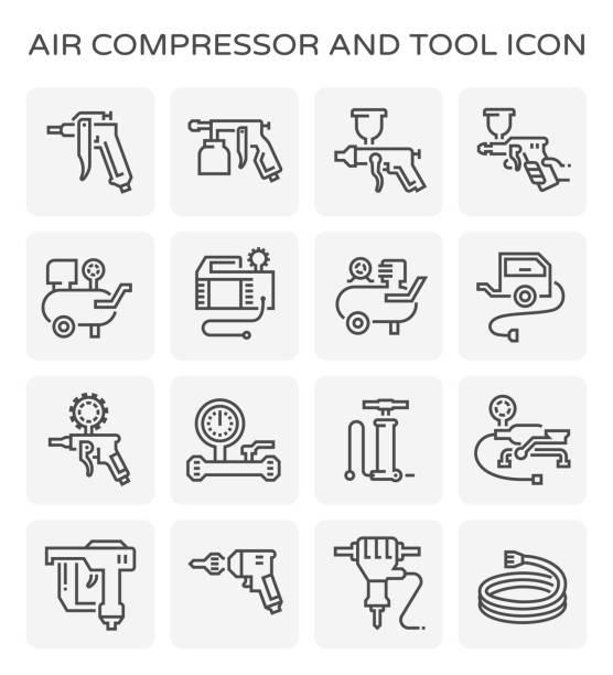 air compressor icon Air compressor and tool icon set. compressor stock illustrations