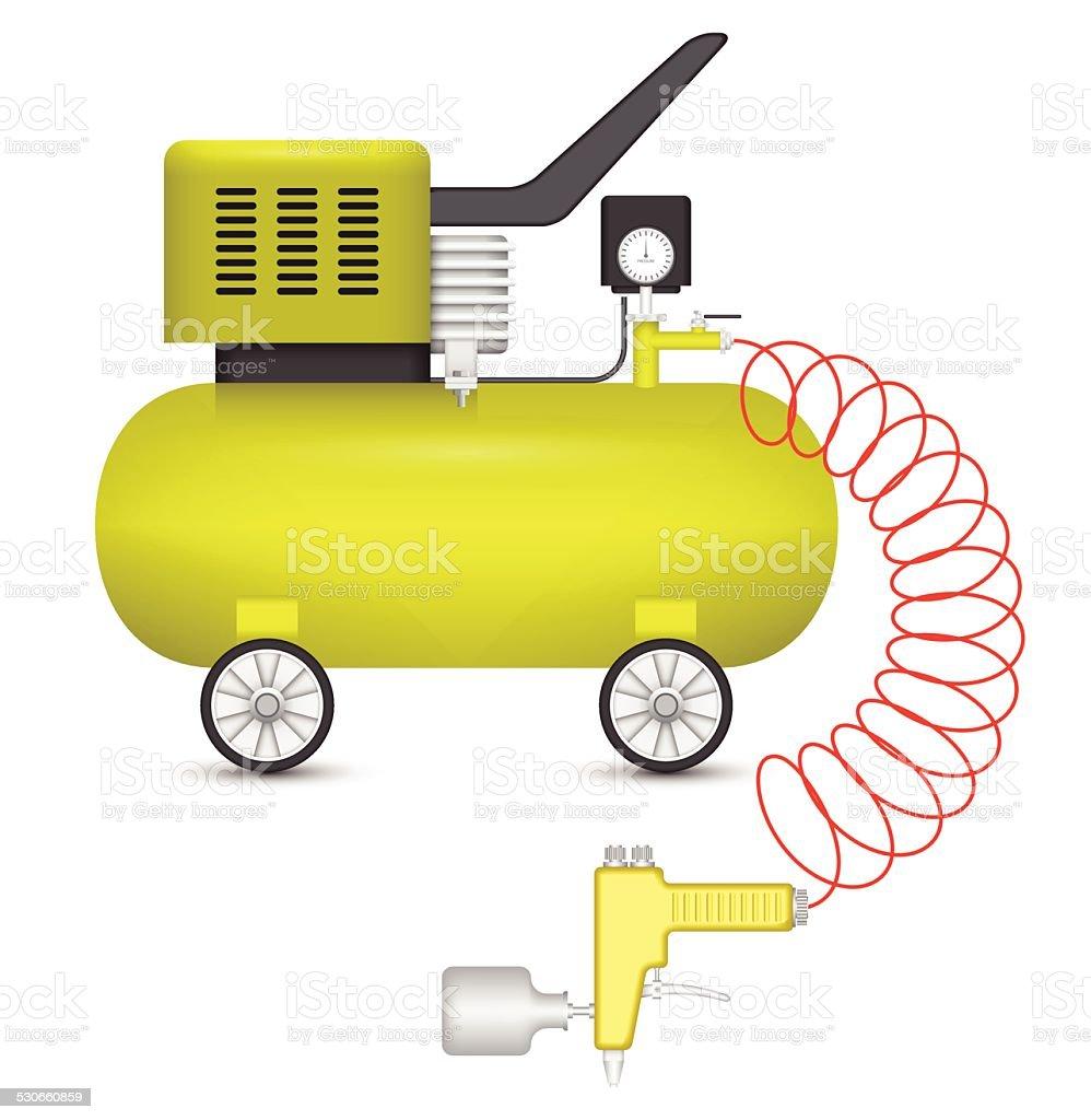 Air compressor vector art illustration