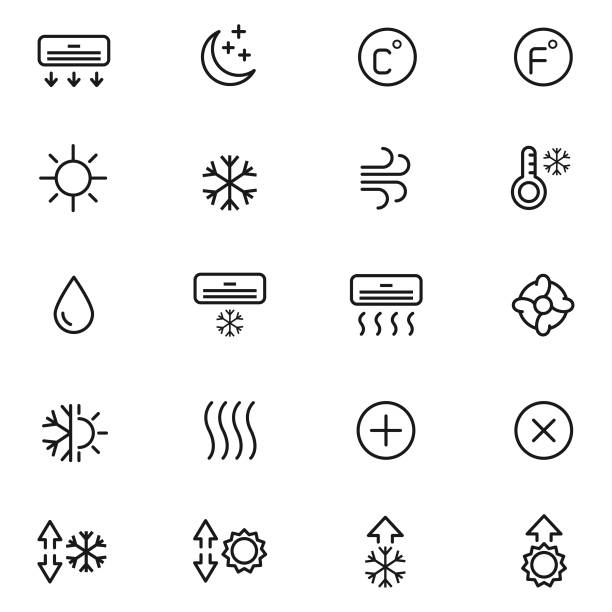 hava durumu icon set - pervane stock illustrations