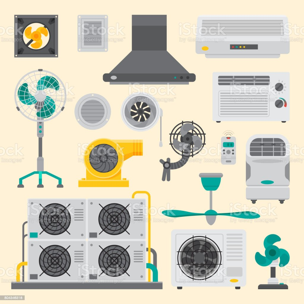 Air conditioner airlock systems equipment ventilator conditioning climate fan technology temperature cool vector illustration vector art illustration
