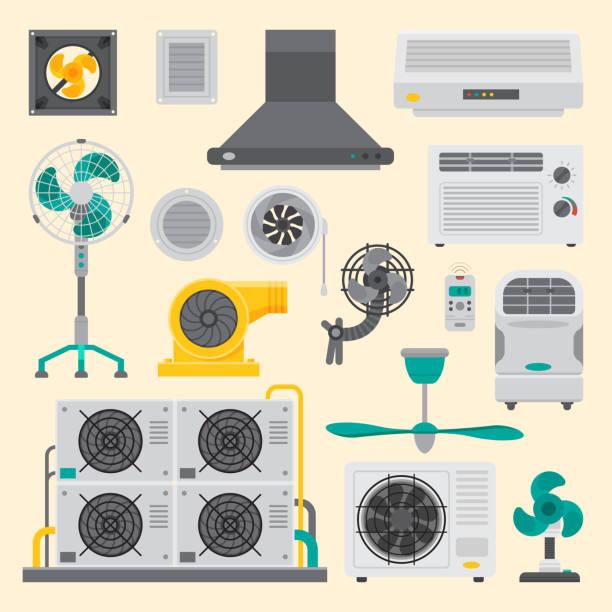ilustrações, clipart, desenhos animados e ícones de ventilador equipamentos sistemas do câmara de ar condicionador de ar condicionado a ilustração vetorial cool clima fã tecnologia temperatura - ar condicionado