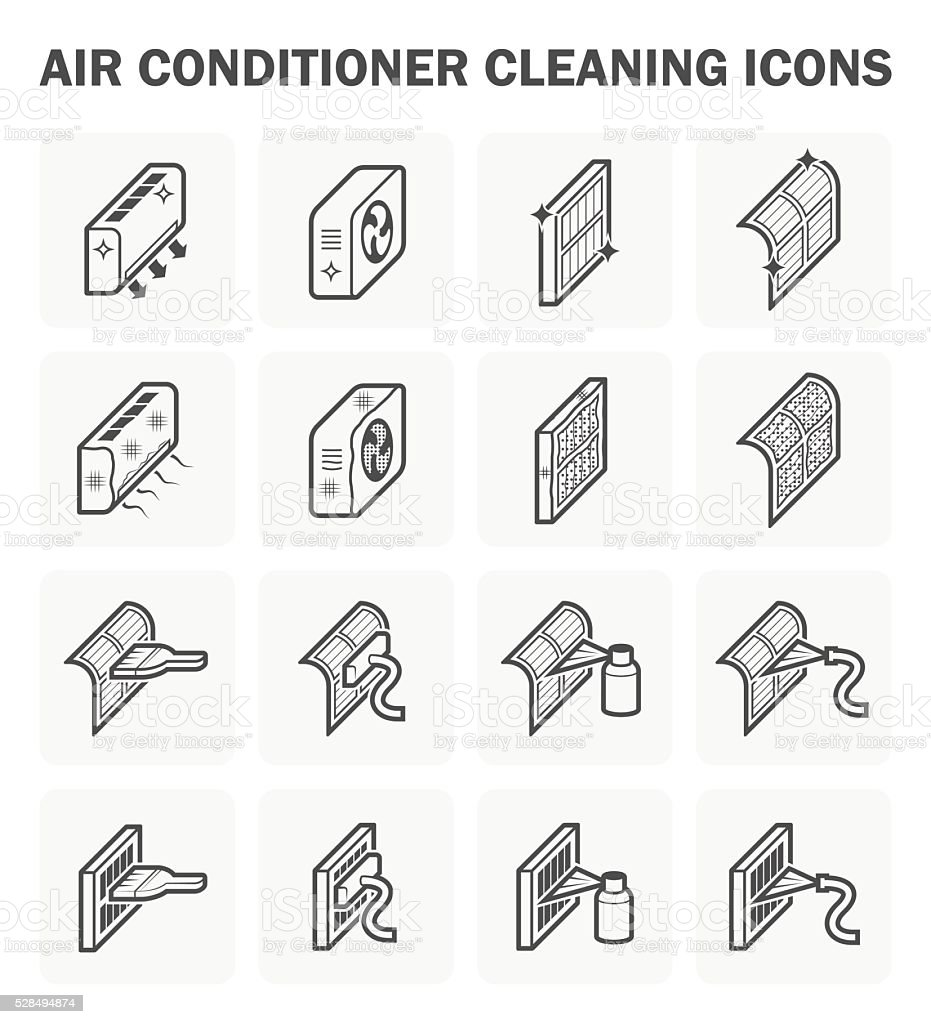 Air conditioner  and cleaning vector art illustration