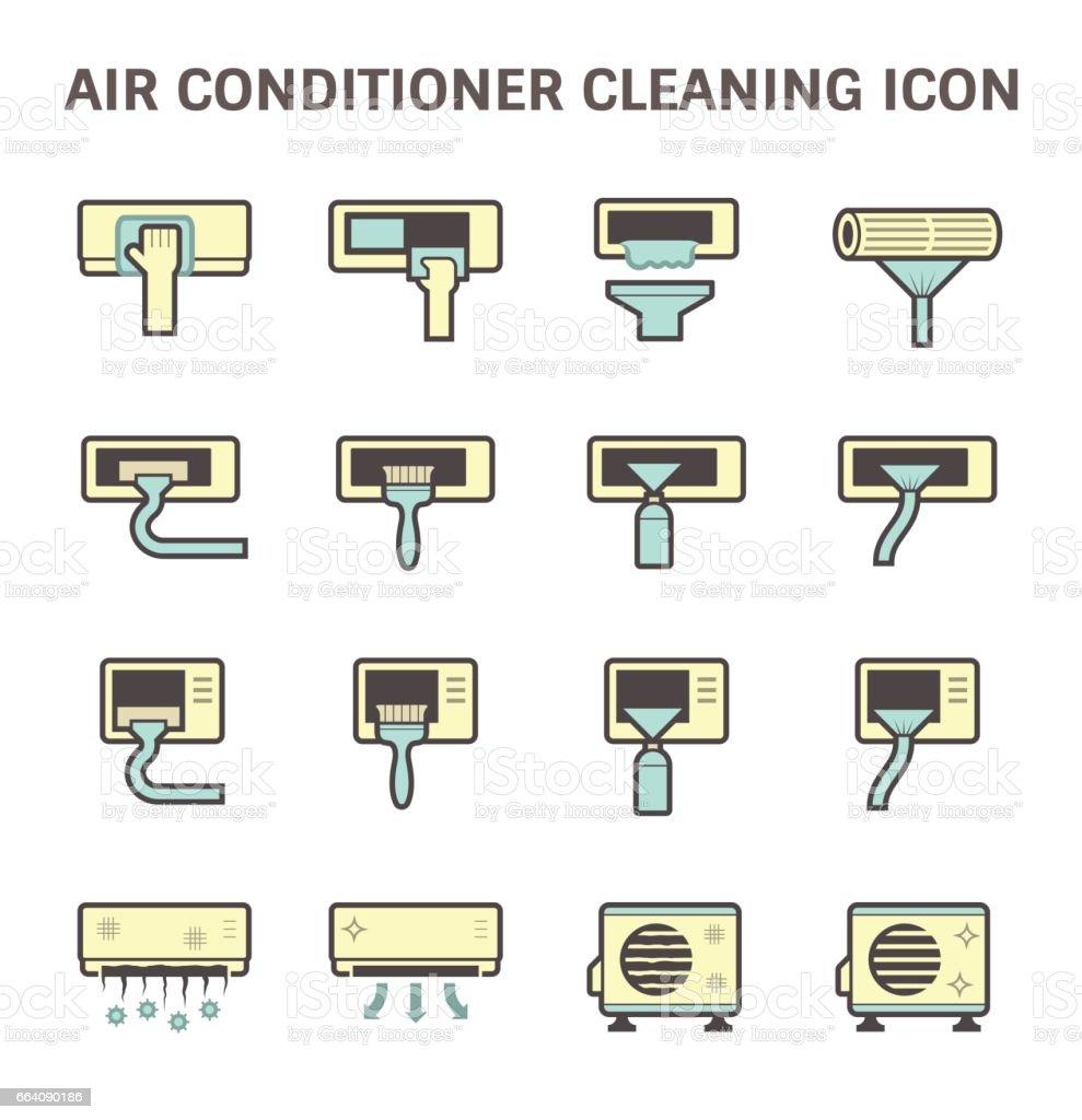 Air conditioner clean vector art illustration