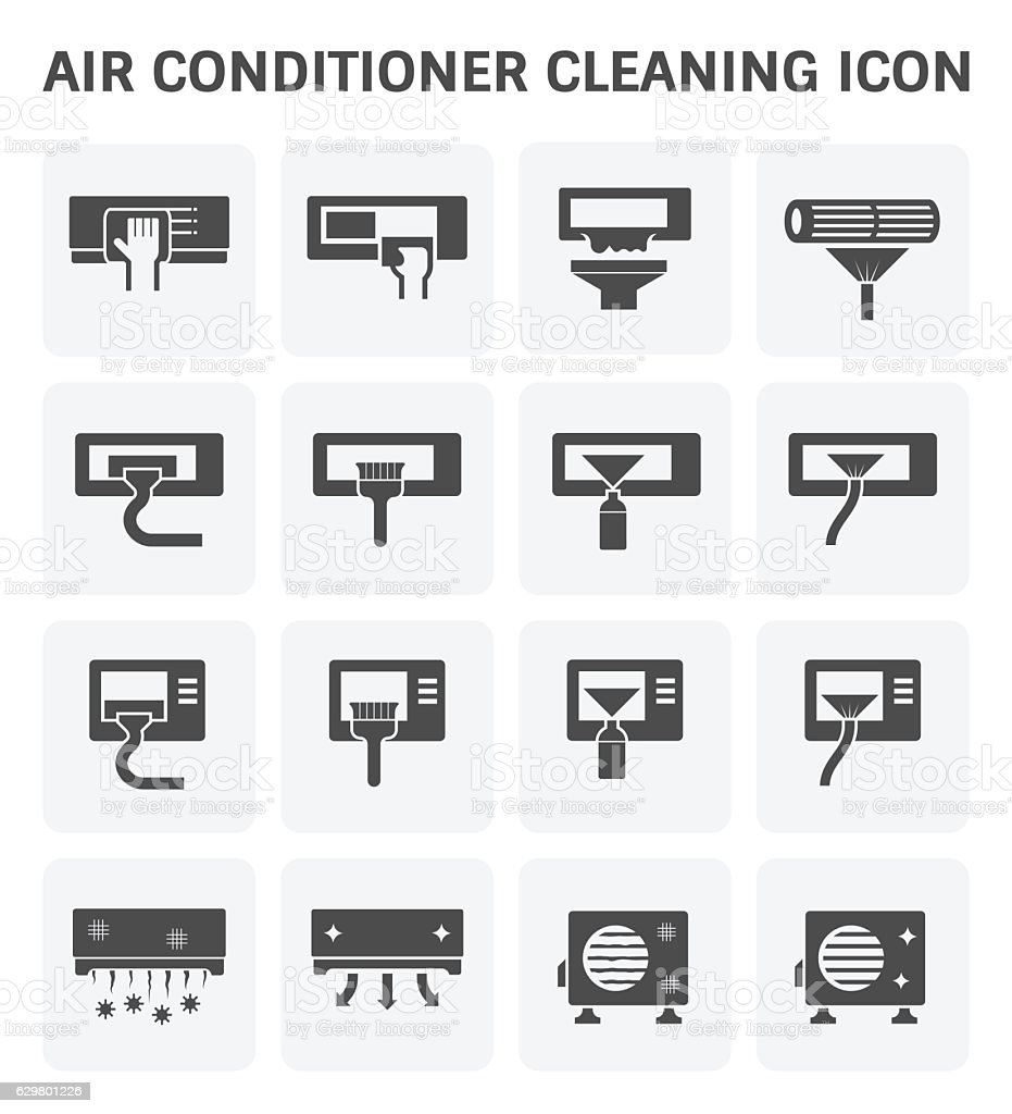 Air conditioner cleaning vector art illustration