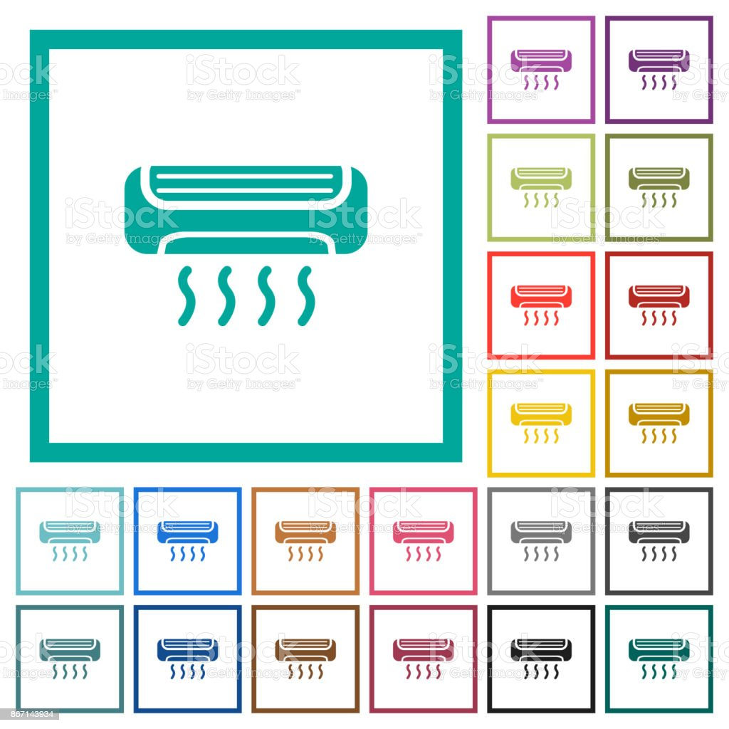 Air conditioner flat color icons with quadrant frames vector art illustration