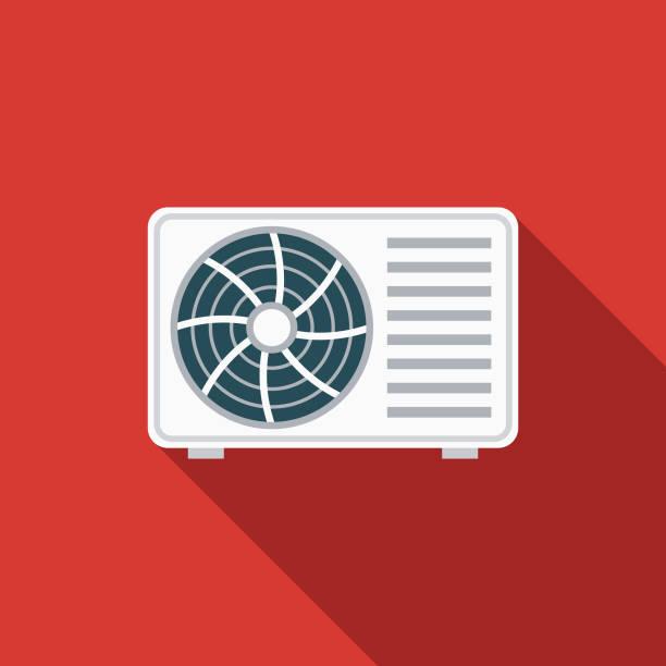 ilustrações, clipart, desenhos animados e ícones de condicionador de ar design plano verão ícone com sombra do lado - ar condicionado