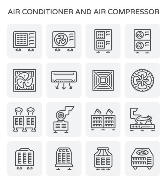 ilustrações, clipart, desenhos animados e ícones de ícone de ar-condicionado - ar condicionado