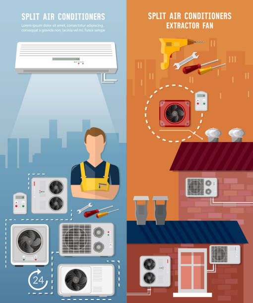 Air conditioner installment and air conditioning repair banner. Split system, check ventilation systems vector art illustration