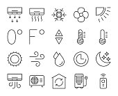 Air Conditioner Light Line Icons Vector EPS File.