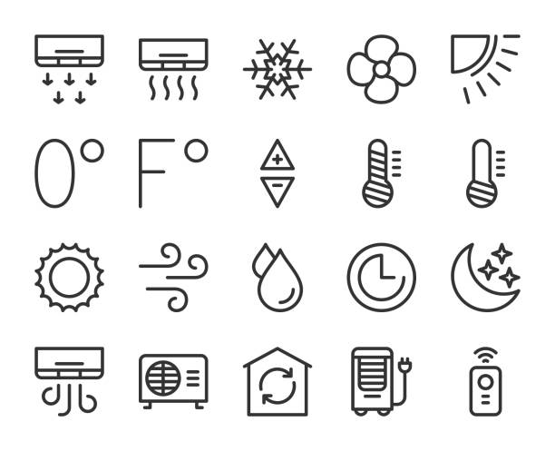 Air Conditioner - Line Icons Air Conditioner Line Icons Vector EPS File. infrared stock illustrations