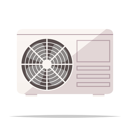 Air conditioner outdoor unit vector isolated illustration