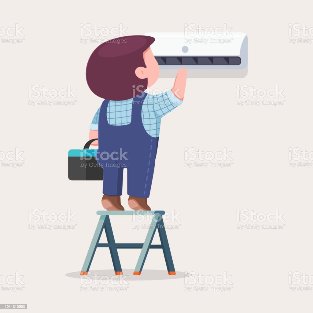 Air conditioner repair and installation. Vector cartoon flat illustration of cute man on a ladder maintenance and service a climatic technique. vector art illustration