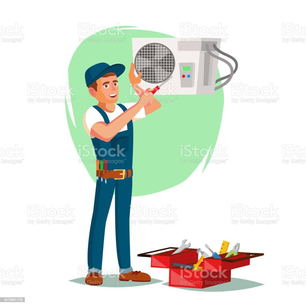 Air Conditioner Repair Service Vector. Young Man Repairing Air Conditioner. Cartoon Character Illustration vector art illustration
