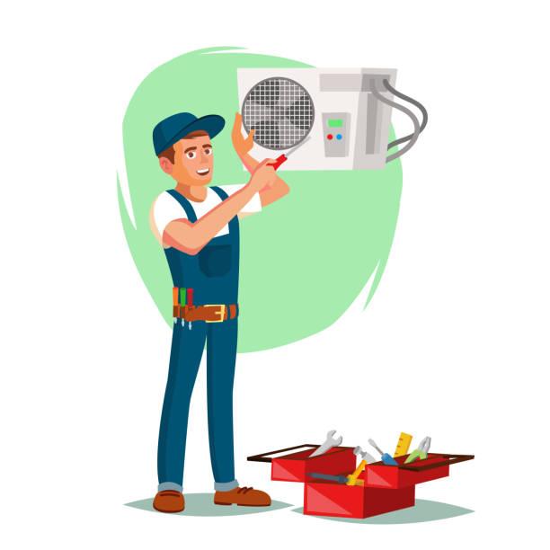 ilustrações, clipart, desenhos animados e ícones de condicionador de ar vetor de serviço de reparação. jovem de reparação de ar condicionado. ilustração de personagem de desenho animado - ar condicionado