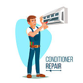 Air Conditioner Repair Worker Vector. Young Happy Male Technician Gesturing. Isolated Flat Cartoon Character Illustration