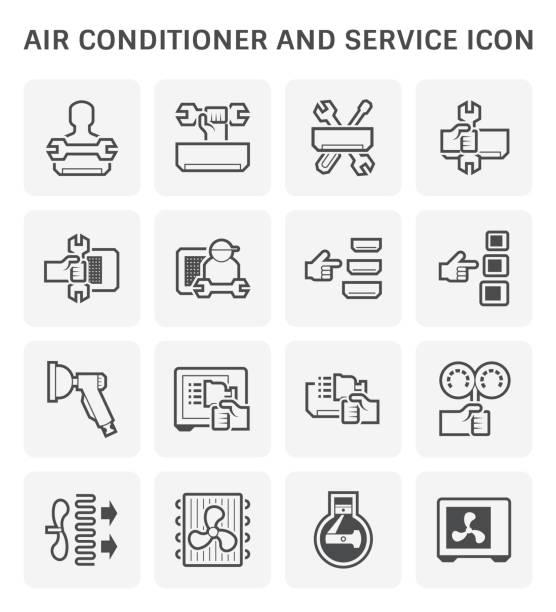 klimaanlagen-service - kondensation stock-grafiken, -clipart, -cartoons und -symbole