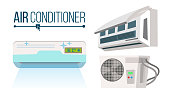 Air Conditioner Set Vector. Different Types Office, Home Conditioner System. Indoors, Outdoors Cartoon Flat Isolated Illustration