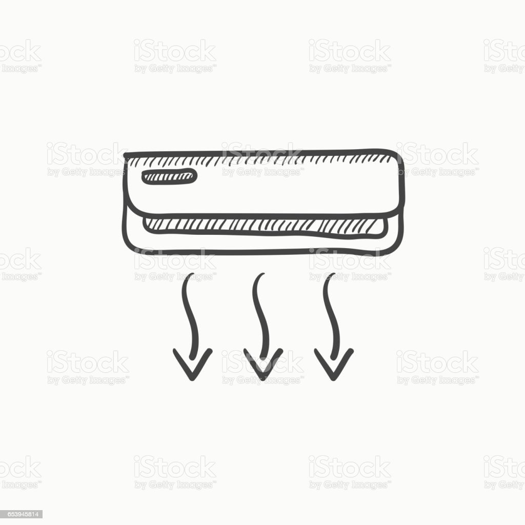 air conditioner sketch icon stock vector art  u0026 more images of air conditioner 653945814