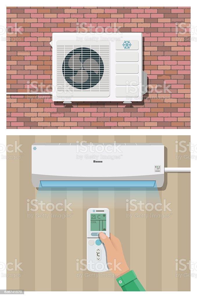 Air conditioner system vector art illustration
