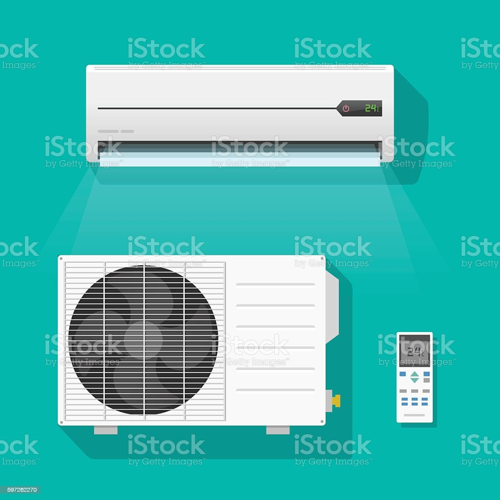 Air conditioner units vector set isolated on green color background vector art illustration