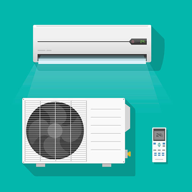 air conditioner units vector set isolated on green color background - pervane stock illustrations