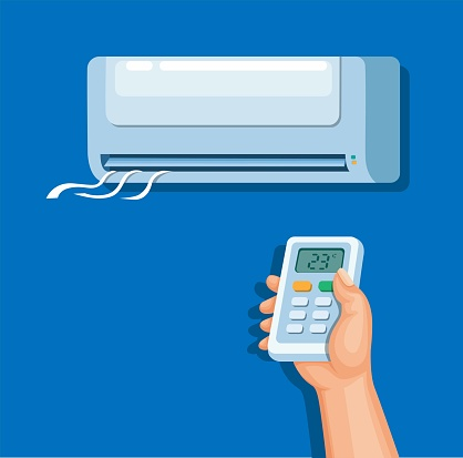 Air conditioner with remote control, electronic home concept in cartoon illustration vector