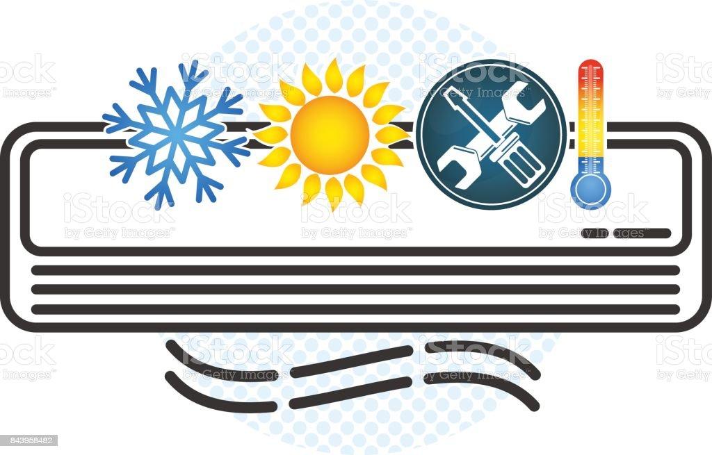 Air conditioning and ventilation symbol vector art illustration