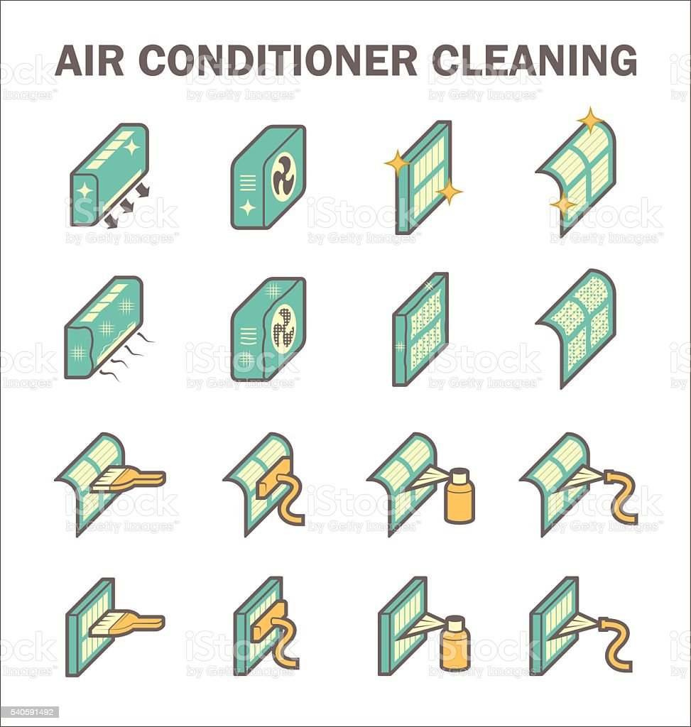 Air conditioning clean vector art illustration