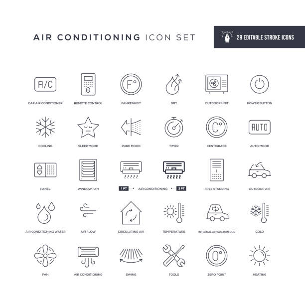 Air Conditioning Editable Stroke Line Icons 29 Air Conditioning Icons - Editable Stroke - Easy to edit and customize - You can easily customize the stroke with air duct stock illustrations