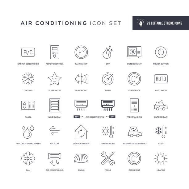 ilustrações, clipart, desenhos animados e ícones de ícones da linha de traçado editável do ar condicionado - ar condicionado