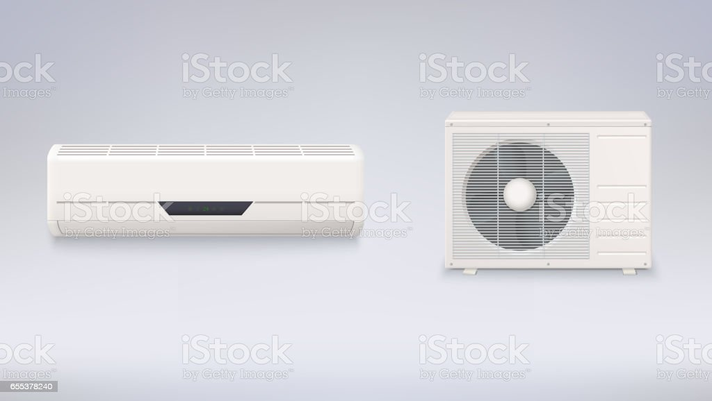 Air conditioning, electronic appliance to clean, freshen and circulate air white color indoor and outdoor units vector art illustration
