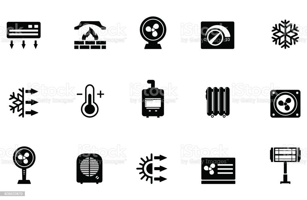Symbol Air Purifier : Air klimaanlage ventilator und heizung symbole stock
