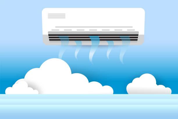 ilustrações, clipart, desenhos animados e ícones de ar condicionado, ar fresco, design vetorial - ar condicionado