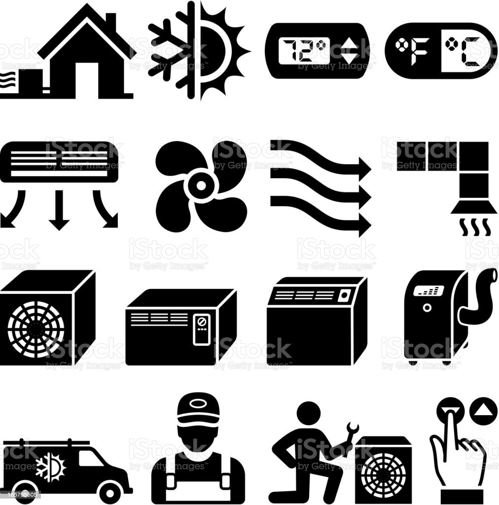 Air conditioning Heating and Cooling black & white icon set vector art illustration