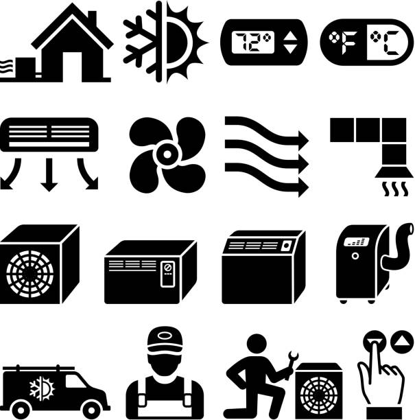 air conditioning heating and cooling black & white icon set - pervane stock illustrations