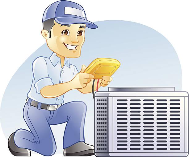 & klimaanlage, heizung, klimaanlage, diagnose und handwerker - handwerker stock-grafiken, -clipart, -cartoons und -symbole