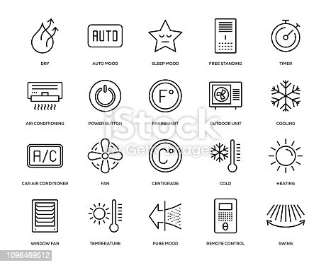Air Conditioning Icon Set - Thin Line Series
