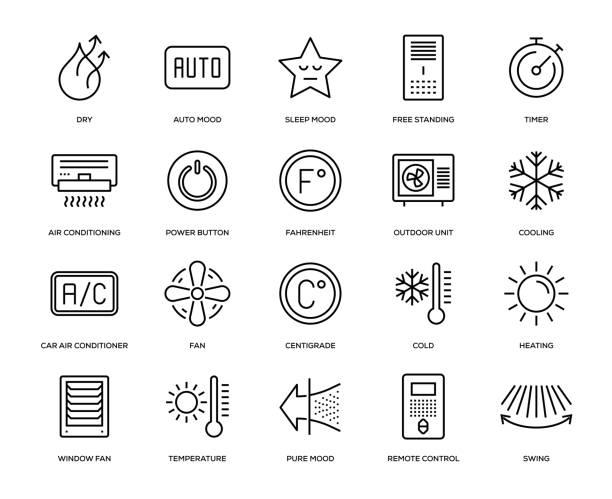 ilustrações, clipart, desenhos animados e ícones de conjunto de ícones de ar condicionado - ar condicionado