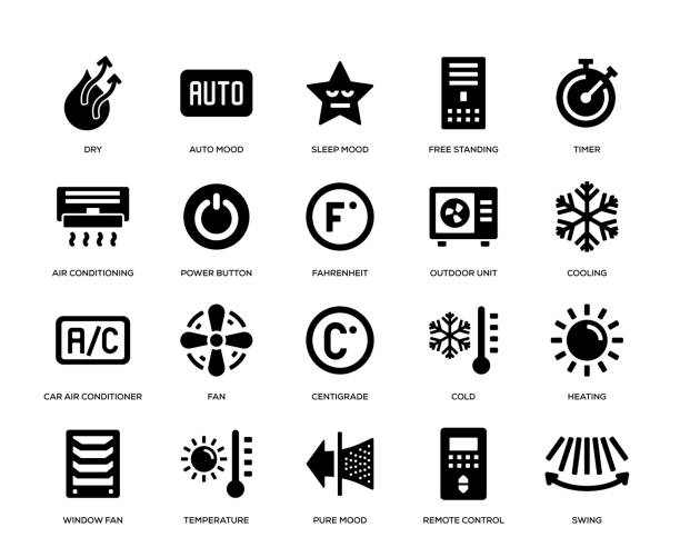 ilustrações, clipart, desenhos animados e ícones de jogo do ícone do condicionamento de ar - ar condicionado