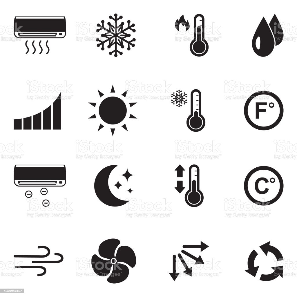 Air Conditioning Icons. Black Flat Design. Vector Illustration. vector art illustration