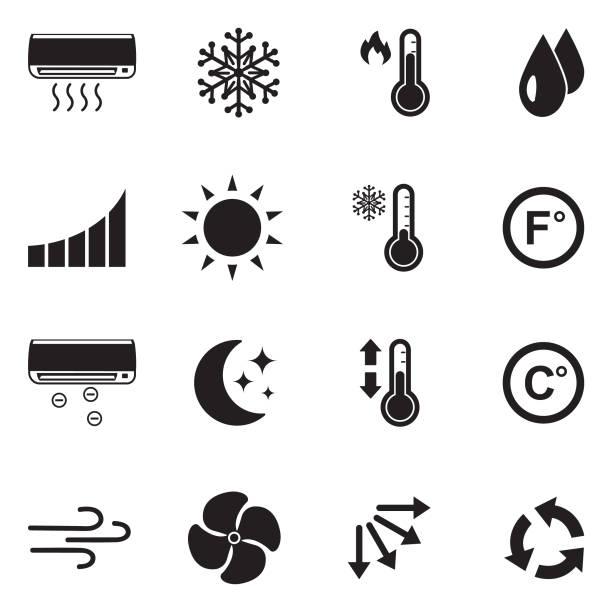 illustrazioni stock, clip art, cartoni animati e icone di tendenza di icone dell'aria condizionata. design piatto nero. illustrazione vettoriale. - calore concetto