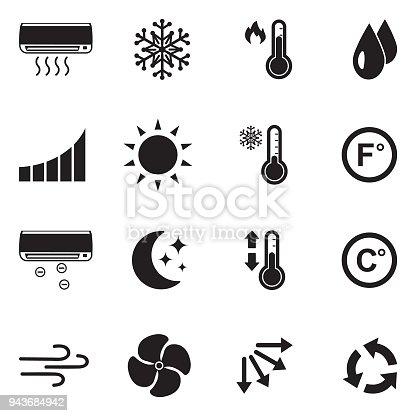 Klimaanlagesymbole Schwarze Flache Bauweise Vektorillustration Stock ...