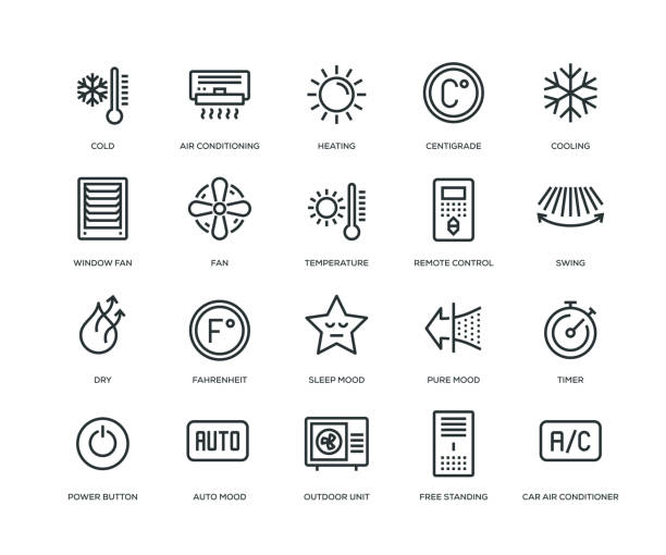 stockillustraties, clipart, cartoons en iconen met air conditioning icons - line serie - droog